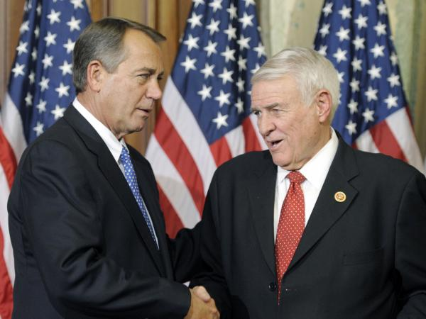 Texas Republican Rep. John Carter (right), a member of the bipartisan group, with House Speaker John Boehner in January.