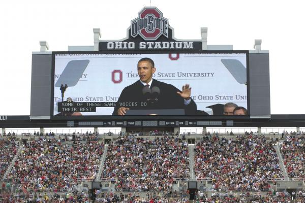 "President Obama's commencement speeches often seem more about the big-picture state of the union than do his State of the Union addresses. On May 5, he told Ohio State students that they were graduating into a ""healing"" economy."