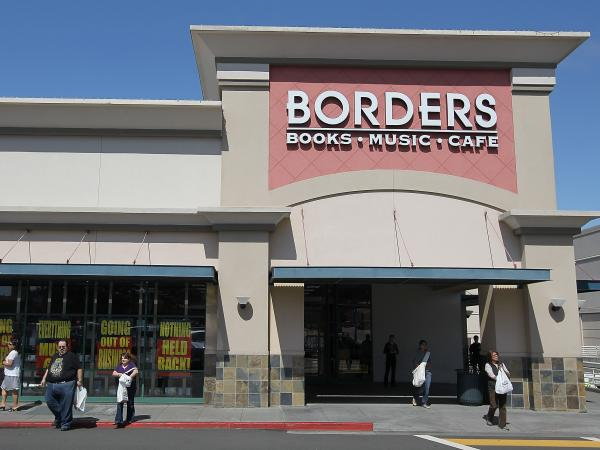 Customers walk out of Borders on July 22, 2011, in San Francisco, Calif., as the chain began liquidating.