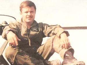 Tom Butts circa 1991 on top of a Black Hawk helicopter. The Army staff sergeant was killed in the Gulf War.