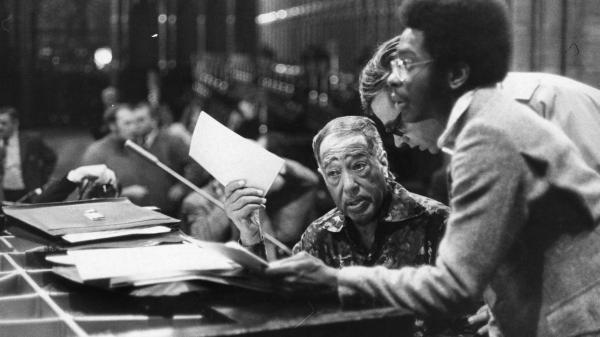 Duke Ellington rehearses for a 1973 concert in London's Westminster Abbey.