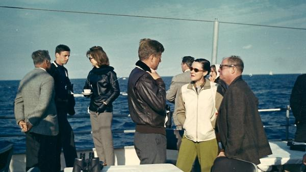 Plimpton watches the America's Cup races with President John F. and Jacqueline Kennedy, 1962.