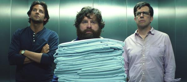 <strong>Dazed And Confused (And Just Plain Lazy):</strong> Zach Galifianakis (center), with Ed Helms and Bradley Cooper, is back for a third <em>Hangover </em>film.