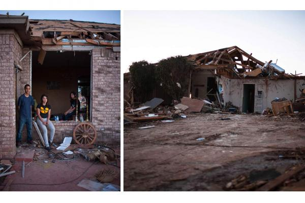 Siblings (from left) Alan, Sylvia and Ariel Trillo. The Trillo home is one of the few in the subdivision that is still standing, although everything inside is damaged. Sylvia was amazed at the outpouring of help the community received from strangers after the tornado.