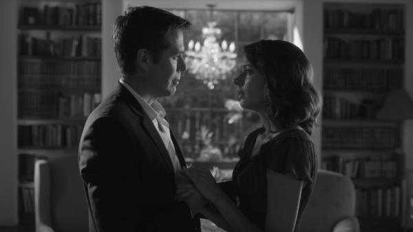 Alexis Denisof and Amy Acker in Joss Whedon's <em>Much Ado About Nothing</em>.