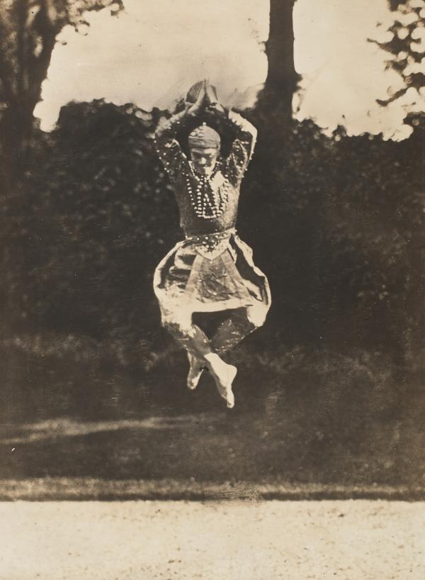 "This 1910 gelatin silver print by Eugène Druet shows Nijinsky in <em>Siamese Dance</em>. The story goes that when asked how he jumped so well, Nijinsky answered, ""It's simple. You just jump up there and wait a little while."""