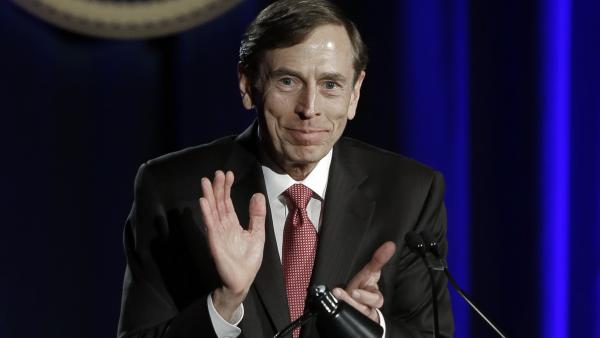 Retired Gen. David Petraeus, former CIA chief, speaks at the University of Southern California in Los Angeles on March 26. Petraeus announced Thursday that he was joining the private equity firm KKR.