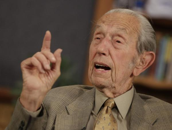 Harold Camping speaks during a taping of his show <em>Open Forum</em> in Oakland, Calif., on Monday (May 23, 2011).