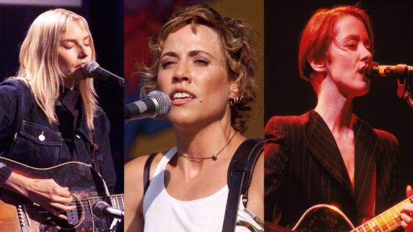<p>Left to right: Aimee Mann, Sheryl Crow, Suzanne Vega.</p>