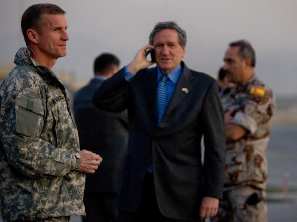<p>U.S. special envoy Richard Holbrooke stands next to U.S. General Stanlely McChrystal, head of the U.S. and NATO forces in Afghanistan, before the arrival of Secretary of State Hillary Clinton on Nov. 18, 2009 in Kabul, Afghanistan.</p>