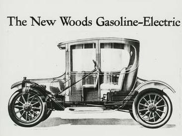 To drive the 1916 Woods Dual-Power hybrid car, the operator moved a lever to start an electric motor. After hitting 20 mph, the driver engaged the clutch, starting the gasoline motor. The two power sources could be engaged together or independently.