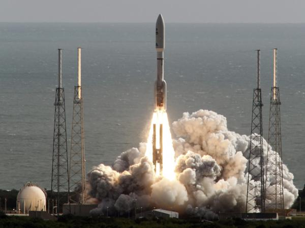 The rocket carrying NASA's Curiosity rover lifts off from Cape Canaveral, Fla., on Saturday morning.