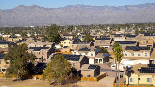 SolarCity has received financing from Bank of America Merrill Lynch to install solar electricity systems on houses on military bases, like one here at Soaring Heights Communities at Davis Monthan Air Force Base outside Tucson, Ariz.