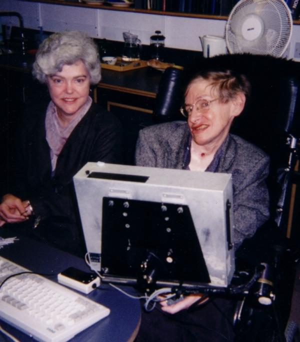 Science writer Kitty Ferguson sits next to Stephen Hawking in this undated photograph. Ferguson is the author of several books about physics, including <em>Stephen Hawking: Quest for a Theory of Everything </em>and <em>Black Holes in Spacetime.</em>