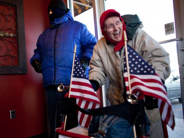 Fired up on a cold day: Sunday in Ames, Iowa, Marilyn Izette Krocheski came to the West Towne Pub to see Republican presidential candidate Newt Gingrich.