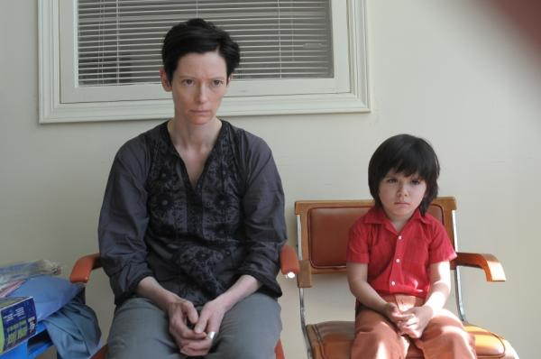 Actor Tilda Swinton plays the mother of a disturbed child, played by Rocky Duer in <em>We Need To Talk About Kevin</em>.