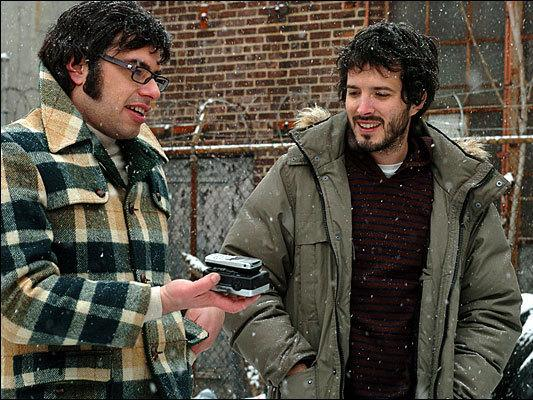 Jemaine Clement (left) and Bret McKenzie: Witty musical parodists play witless musicians in <em>Flight of the Conchords</em>.