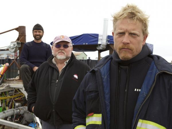 The Wild Ranger crew of <em>Bering Sea Gold</em>: Steve Riedel, owner Vernon Adkison and Captain Scott Meisterheim.