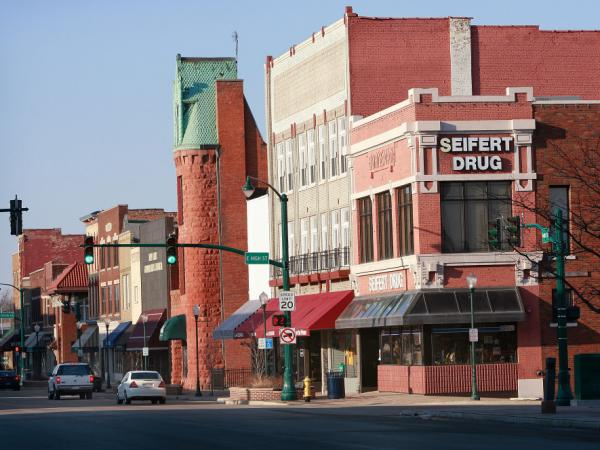 Main Street in Elkhart, Ind. The area was hit hard by the recession — nearly half of all jobs in Elkhart County are in manufacturing.