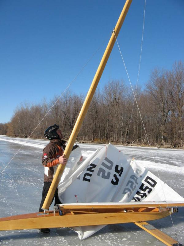 Andy Sajor prepares his DM, or ice boat, for a run on Lake Champlain. Ice sailing happens just about anywhere water freezes, but the sport started in the Netherlands and caught on in colonial America, where sailors ran up and down the Hudson River, ferrying goods in winter.