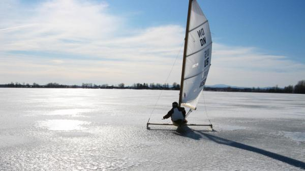 <strong> Come Sail Away:</strong> Retired high school science teacher — and adrenaline junkie — Andy Sajor rides his ice boat on a frozen Lake Champlain in New York. Perfect ice sailing conditions call for cold temperatures, a strong breeze and a thick sheet of ice — but not too much snow.