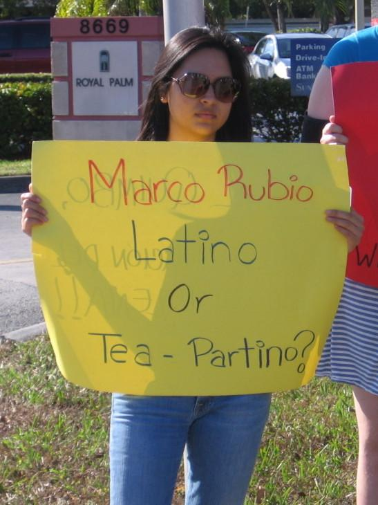 In Miami last week, protesters accused Rubio of being more in line with the Tea Party than Latino voters.