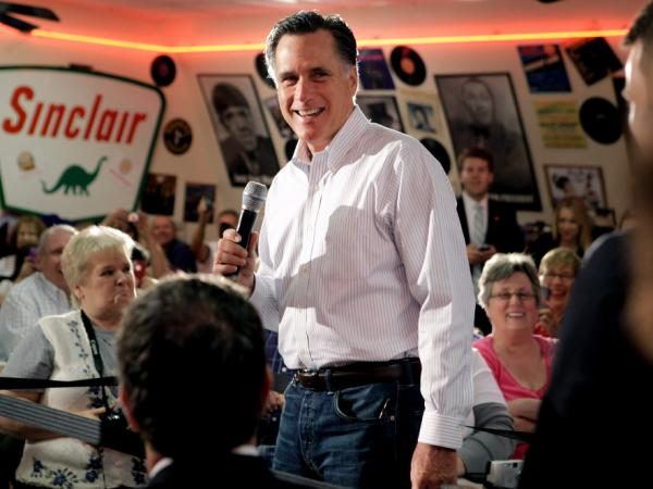 Mitt Romney at Charlie Parker's Diner in Springfield, IL, March 19, 2012.
