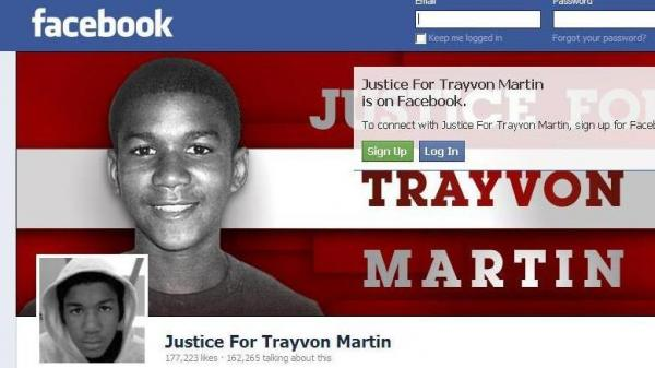 Part of the awareness raising effort: the Justice for Trayvon Martin page on Facebook.
