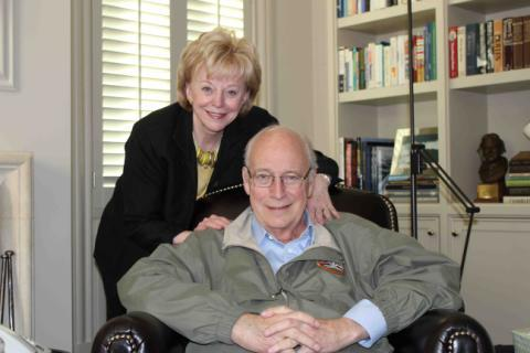 Former Vice President and Mrs. Cheney at home after his release from Inova Fairfax Hospital on Tuesday.