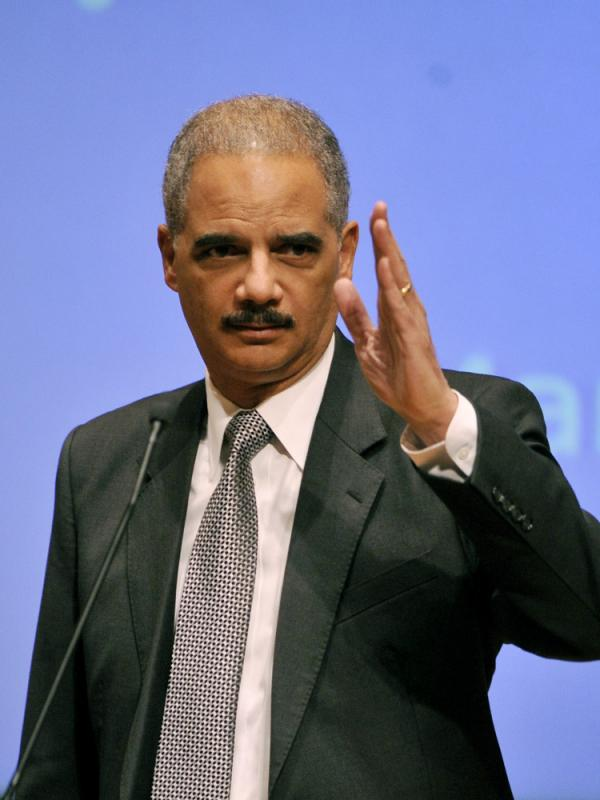 Holder surveys the room before speaking at Northwestern University's law school March 5 in Chicago.