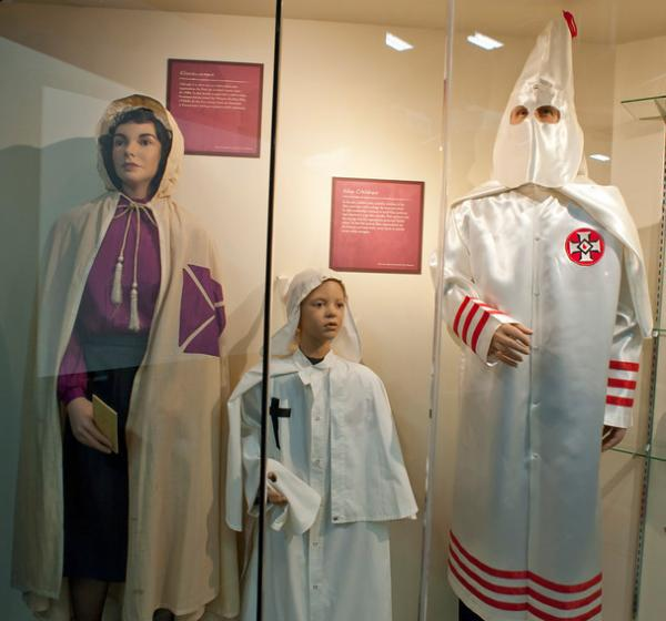 Museum displays include examples of robes worn by the men, women and children of the Ku Klux Klan.