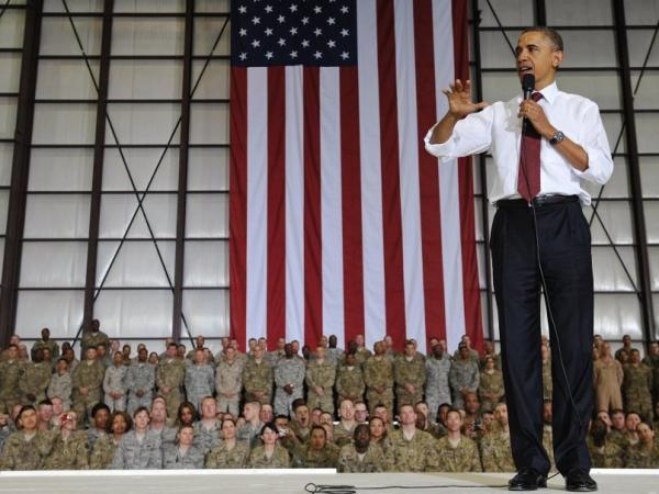 During his brief visit to Afghanistan, President Obama spoke to troops at Bagram Air Field north of Kabul.