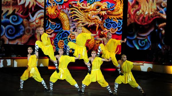 The Shaolin Warriors, from Shaolin Monastery in central China, put on a demonstration of traditional kung fu fighting techniques, with some crowd-pleasing stunts thrown in. They had never performed with a circus before this year.