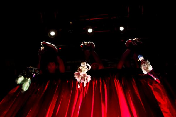 Marionettes (and their manipulators) perform puppeteer Basil Twist's adaptation of <i>Petrushka,</i> backstage at the Shakespeare Theatre Company in Washington, D.C.