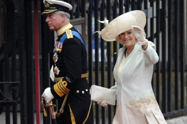 Britain's Prince Charles (left) and Camilla, the Duchess of Cornwall, arrive at Westminster Abbey.