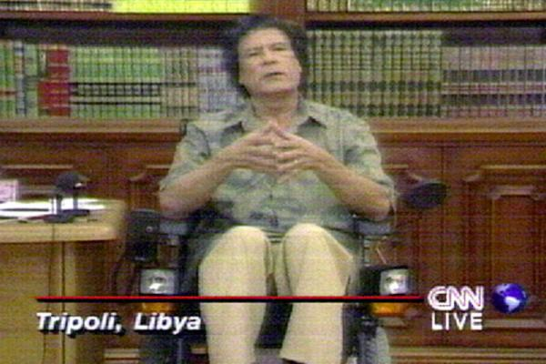 1998: Gadhafi speaks at a press conference about the potential handover of two Libyan suspects in the 1988 bombing of Pan Am Flight 103. The men were turned over the following year; one was convicted.