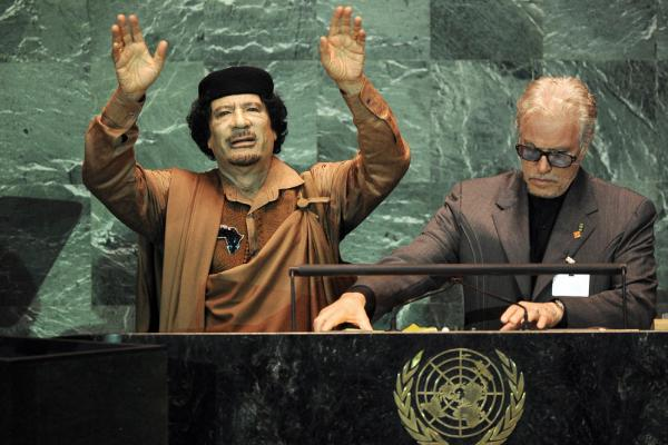 2009: Gadhafi finishes an hour-and-a-half speech during his first visit to the United Nations in New York. His speech came shortly after he welcomed back to Libya the man convicted in the Pam Am bombing, who'd been released from prison on medical grounds.