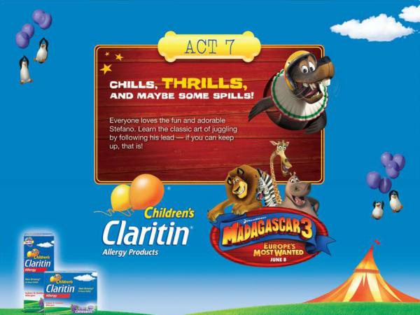One of the <em>Madagascar 3</em>-themed activities for kids touted on Merck's Claritin Facebook page.