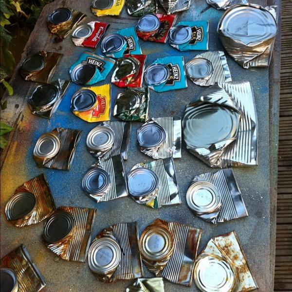 <p>Collection of can bodies, awaiting face painting.</p><p></p>