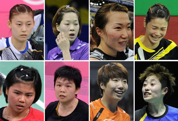 <strong>The Badminton Eight:</strong> That's the media's new nickname for the Olympic athletes disqualified Wednesday in a match-fixing scandal at the London Games. They are, from top left: South Korea's Kim Ha Na, Ha Jung-Eun, Kim Min-Jung and Jung Kyung-Eun. Bottom: Indonesia's Greysia Polii and Meiliana Jauhari, and China's Wang Xiaoli and Yu Yang.