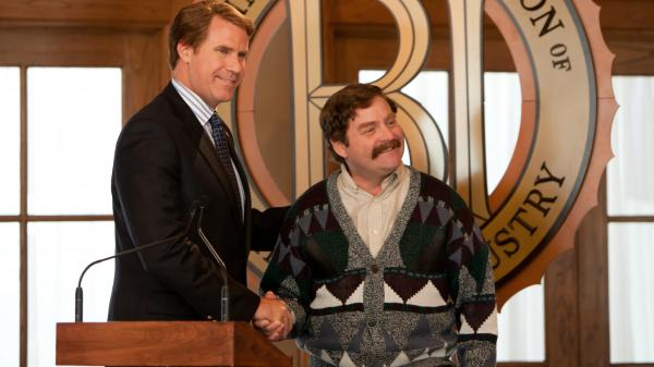 Cam Brady (Will Ferrell) and Marty Huggins (Zack Galifianakis) are political rivals in <em>The Campaign</em>, a movie that improves the more it lets the two actors veer toward the outlandish.