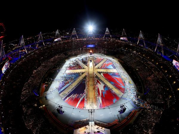 The athletes of the competing nations enter the stadium during the Closing Ceremony on of the London 2012 Olympic Games.