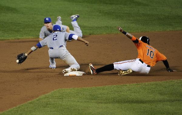 Baltimore Orioles center fielder Adam Jones is out at second against Kansas City Royals shortstop Alcides Escobar. Despite less-than-stellar statistics, the Orioles are contenders in the American League wild-card race.