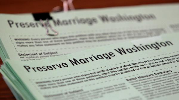 Petitions for Referendum 74, which would provide a public vote on gay marriage, were submitted in June in Olympia, Wash.