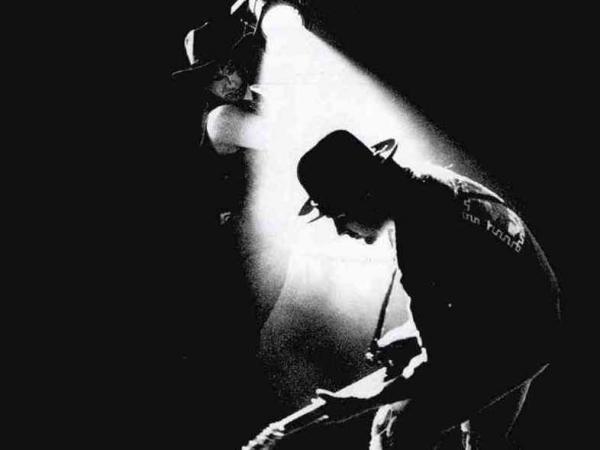The iconic cover art for U2's 1988 album <em>Rattle and Hum</em>.