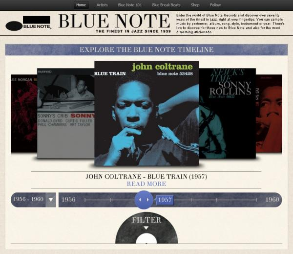 The landing page for the Blue Note Spotify app.