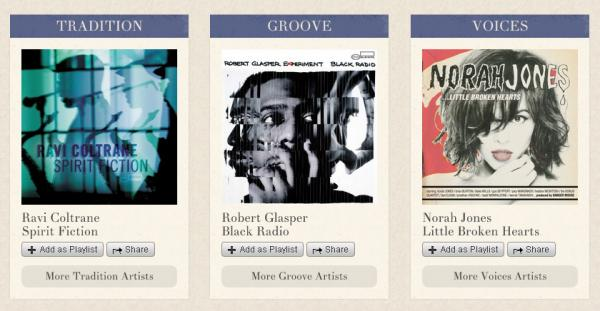The bottom half of the Blue Note Spotify app landing page divides its artists into three categories. (Artists can fall into multiple categories.)