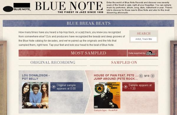 The Blue Break Beats section pairs Blue Note recordings with the songs in which they've been sampled.