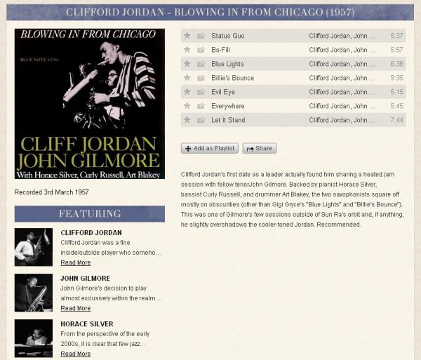 A sample entry for an album in the Blue Note Spotify app — in this case, Clifford Jordan and John Gilmore's <em>Blowin' in From Chicago</em>.