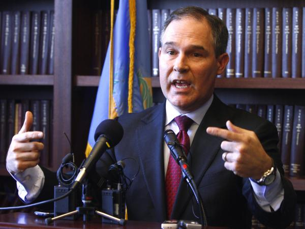 Oklahoma Attorney General Scott Pruitt, seen at a news conference in early 2011 before he took office, promised to file a lawsuit soon after he was sworn in. He did.